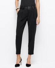 Ann Taylor - Size 6 (Mediano) Negro Sintético Cintura Piel Tobillo Pantalones
