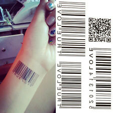 Water Transfer Barcode Waterproof Temporary Tattoo Sticker Body Art Product EV