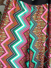 Vtg 90s Psychedelic Zig Zag Floral Kaleidoscope High Waist Rave Palazzo Pants L
