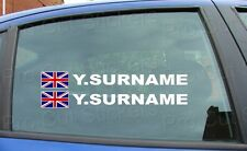 X4 Rally Race Tag Name Surname Car Window Stickers Decals Union Jack Flag Ref 5