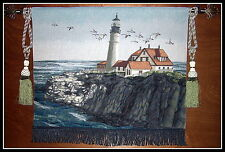 Tapestry Wall Hanging New England Lighthouse Keepers Cottage FREE TASSELS Backed