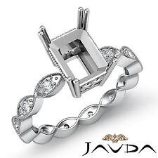 Diamond Engagement Miligrain Set Ring 14k White Gold Radiant Semi Mount 0.2Ct