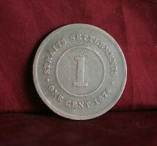 1 One Cent 1876 Straits Settlements World Coin KM9 Malaysia Queen Victoria Malay