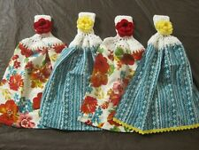 (4) Set Pioneer Woman Crochet Top Cotton Kitchen Towels Wildflower Whimsy