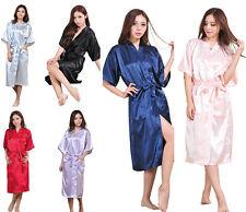 Women Men Satin Dressing Gown Robe Bridal Wedding Lingerie Pyjama Sleepwear Silk