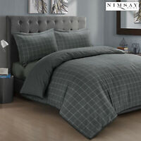 Luxury 200gsm Soft 100% Brushed Cotton Flannelette Duvet Cover Set Charcoal Grey