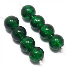 Lot de 50 Perles Craquelées en Verre 6mm Vert Foncé