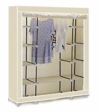 Vinsani Triple Canvas Clothes Cupboard Hanging Rail With Storage Shelves - Cream