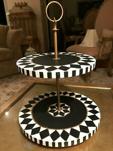 TWO TIER CAKE/CUPCAKE/DISPLAY STAND MACKENZIE CHILDS STYLE HAND PAINTED