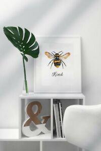 Bee Kind Print - The Early Bumblebee (A4) Bee Art, Bee Print