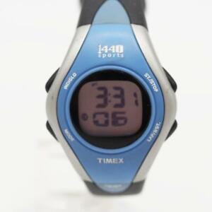 Timex 1440 Womens Watch Black Blue Plastic Date Light Alarm Chro 24hr 50m