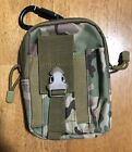 Camo 2 sectioned zippered Storage Pouch with Belt Loops and Carabiner Clip