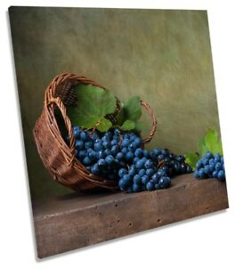 Still Life Grapes Picture CANVAS WALL ART Square Print