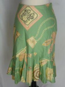 Anthropologie Odille Green Skirt 2 Flounced Hem Pink Perfume Shoes Purses Design
