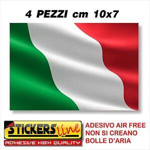 4PZ. Adesivo BANDIERA ITALIANA cm10x7 adesivi bandiera italiana tricolore ITALIA
