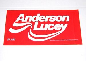 1980 JOHN ANDERSON BUMPER STICKER campaign pinback button political presidential