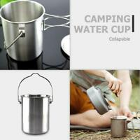 750ml Stainless Steel Outdoor Camping Hang Pot Water Cup Foldable with Lid Tool