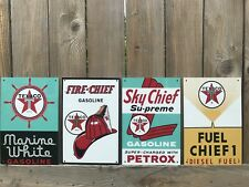 Texaco White marine Sky Fire Diesel Fuel Set Of 4 Combo  Oil Gas Pump Plate