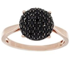 0.55 CTW BLACK SPINEL ROUND PAVE 14K ROSE GOLD-PLATED STERLING RING SIZE 8 QVC