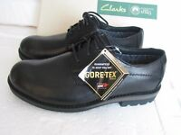 NEW CLARKS PADLEY LACE GORETEX BLACK LEATHER STRONG SOLE SHOES VARIOUS SIZES