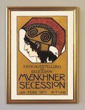 Franz von Stuck Münchner Secession XXVIII Ausstellung Plakat Faks 5 Goldrahmen