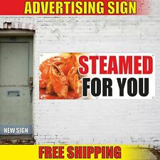 STEAMED FOR YOU Advertising Banner Vinyl Mesh Decal Sign SEAFOOD GRILL BBQ FRESH