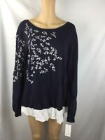 Nwt Charter Club Women's Navy  Embroidered Long Sleeve Shirt Size XL