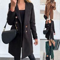 Jacket Winter Ladies Blazer Trench Overcoat Woolen Coat Long Womens Size S-3XL