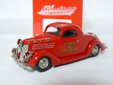 Milestone AA9 1/43 1936 Ford Coupe Fire Chief Handmade White Metal Model Car