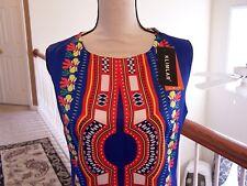 Klimlar 8 Dress Multi Color Floral Sleeveless Back Slit NWT Lined