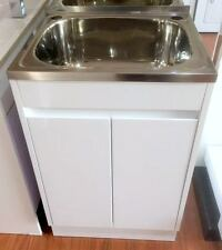 Gloss White Timber Cabinet Laundry Tub without Handles
