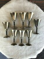 8 Roma S.L. Goblets Silver Plate Pedestal Wine Cups Madrid Spain Grapevine Stems