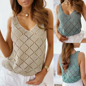 Womens Hollow Pure Blouse Vest Shirt CAMI Knitted Ladies Casual Sleeveless Tops