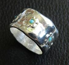 Silver Sterling 925 Plated Slide Band Ring Flowers Turquoise Beads Size 8