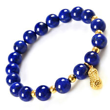 999 New Pure 24K Yellow Gold Bracelet Lucky Peanut Link 3mm Bead &Lapis Lazuli