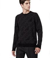 Maglione uomo EMPORIO ARMANI nero in morbida ciniglia con logo tono su tono,-50%