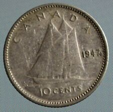 1947 Canada 10 cent coin dime ML  80% Silver - with Maple Leaf