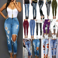 Women Distressed Frayed Jeggings Ripped High Waisted Denim Pants Jeans Trousers