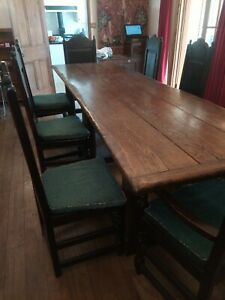 Rustic Oak Long Refectory Dining Table + 8 Chairs - Country House / Gothic