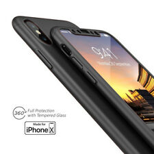 Black 360 Full Protective Case Hard PC Cover w/ Tempered Glass For iPhone X