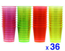 36 Disposable Plastic Neon Coloured Party Jelly Shot Glasses Cup