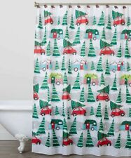 Vintage Christmas Rustic Camper Red Car Holiday Tree Shower Curtain and Hooks