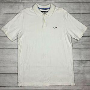 Greg Norman 100% Pima Cotton Golf Polo Shirt Size Medium White Shark Logo