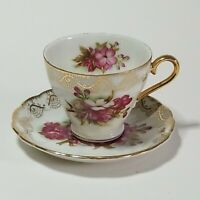 Vintage/Antique Unmarked Numbered C-636 Pink Floral Gold Lace Tea Cup & Saucer