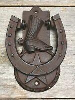 Rustic Horseshoe Cowboy Boot Star Door Knocker Heavy Cast Iron Barn Western