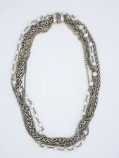 DAVID YURMAN SOLID 18K GOLD & STERLING CHAIN & PEARL MULTI STRAND NECKLACE ~ 16""