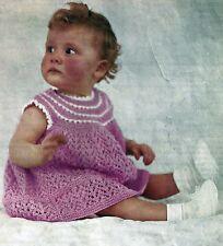BABYS PRETTY  DRESS  KNITTING PATTERN IN 4 PLY (1119)