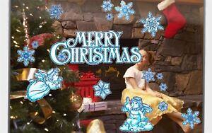Angel Merry Christmas Glitter Reusable Sticker Shop Window Decoration Snowflake