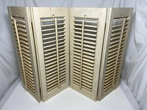 """Vintage Wooden Louvered Shutter Panels Wood Shutters Old Shabby 19 3/4""""x 25"""""""