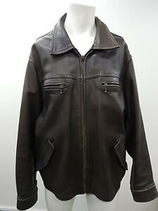 Kenneth cole Mens Cowhide Leather Brown Zip Bomber Jacket Size XL (14B)
